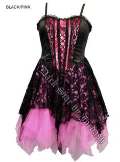 930b4380298 Dark Star Black and Pink Satin Velvet Lace Gothic Mini Dress