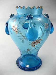 Circa 1890 Antique Moser Ice Blue Enameled Vase from the-vault on Ruby Lane