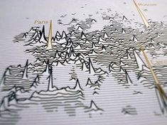 """James Cheshire produced a map entitled """"Population Lines"""", """"which shows population density by latitude. The aim was to achieve a simple and fresh perspective on these well-known data...which in itself is a great example of data visualisation as art."""" http://spatial.ly/2014/08/population-lines/"""