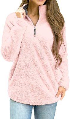 023fda0f2f4 Bon Soir Womens Pink Long Sleeve Winter Warm Blouse Sweatshirt Zipper  Fleece Pullover(Pink-X-Large) Best Winter Coats USA