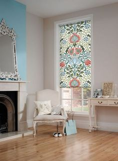 24 Interior Designs with Patterned Roller Blinds Interiordesignshome.com Roller blinds can be customized with an image you upload