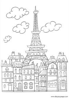 Free coloring page coloring-adult-paris-buildings-and-eiffel-tower. The Eiffel Tower : symbol of Paris, very cute drawing to print & color Cute Coloring Pages, Printable Coloring Pages, Free Coloring, Coloring Pages For Kids, Coloring Sheets, Coloring Books, Online Coloring, Kids Colouring, Tour Effel