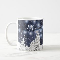 Newlywed rustic winter monogrammed navy white coffee mug - twinkle lights wedding gifts marriage idea ciy Funny Home Decor, Cute Home Decor, Twinkle Lights Wedding, Invitation Kits, Personalized Party Favors, White Coffee Mugs, Christmas Mugs, Wedding Gifts, Wedding Favors