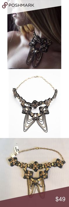 NWT Free People Kaleidoscope Collar Necklace Beautiful collared necklace with gold and silver stones on top of a REAL LEATHER back. This item is NWT and retails at $88. At this price it is a steal!! Looks amazing on a plain shirt or dress to spice up an outfit.                                                                                                                         No Trades                                                            ✅ Offers considered Free People Jewelry…