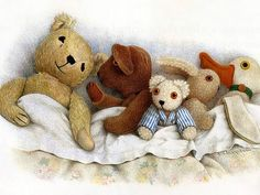 Jane Hissey : Hoot, Lovely Stuffed Animals - Old bear and soft toy friends - Heartwarming stuffed animals illustrations 3 Colored Pencil Artwork, Color Pencil Art, Colored Pencils, Watercolor Card, School Displays, Children's Book Illustration, Book Illustrations, Old Toys, Illustrators