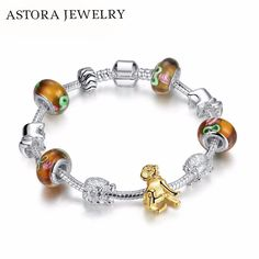 16 - 23CM Hot Sale European Gold-color Dog Charm Beads Bracelet Bangle Jewelry Gift