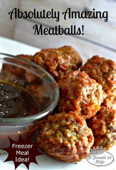 A meatball recipe with a killer sauce that the whole family will love! Make these for freezer meals as well!A meatball recipe with a killer sauce that the whole family will love! Make these for freezer meals as well! Meatball Sauce, Meatball Recipes, Hamburger Recipes, Wrap Recipes, Dinner Recipes, Easy Recipes, Real Food Recipes, Cooking Recipes, Beef Dishes