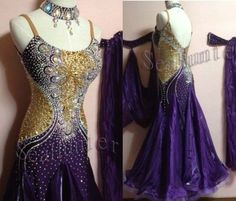 Ballroom Standard Watlz Foxstep Tango Dance Dress US 8 UK 10 Purple Gold Color - $389.99