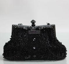 Czarna torebka  w stylu barokowym - hand made  WIDZIANA W MEDIACH : Avanti