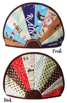 Fun tea cozy idea using boldly patterned fabric scraps.