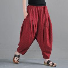 Women's Pants in Spring/Fall Hand Wash Dark Red Female Full Length Harem Elastic Solid Color White One Size Cotton Linen Casual Costume Halloween, Yoga Pants Outfit, Women's Pants, Loose Pants, Hippie Pants, Elastic Waist Pants, Linen Pants, Cotton Harem Pants, Harem Trousers
