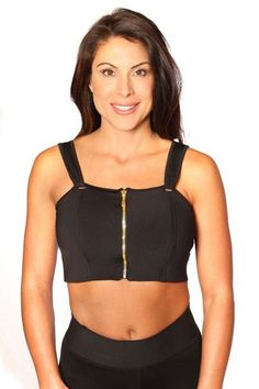 0ea6e08c5a The Tabby Black with Gold Zip. Front Closure Sports BraZip CompressionYoga  ...