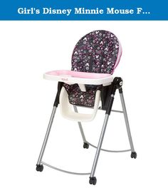 Girl's Disney Minnie Mouse Folding Adjustable High Chair - 6 Different Heights, fro, Baby until 50 lb toddler. This Disney Minnie Mouse High Chair will keep your little one safely ensconced. Settling in is easy with a front-release tray that operates single handedly. You'll never have to worry about squirmy toddlers thanks to a five-point harness system that adjusts as your child grows. For younger ones, the back reclines to three positions to allow baby a quick snooze without disruption....