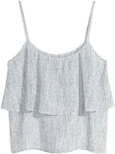 H&M Tiered Top - White/Patterned - Ladies on shopstyle.com