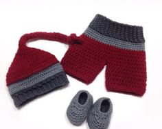 Red baby shorts - Baby knot hat - Matching boy outfits - Toddler christmas outfit - My first christmas - Baby boy clothes newborn - Infant