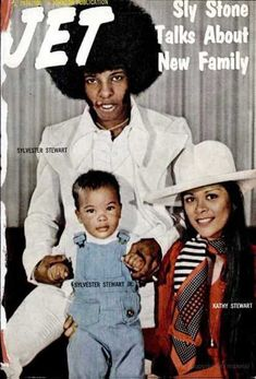 Sly Stone and family on the cover of Jet magazine, 1974.