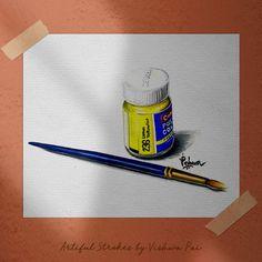 Bottle Drawing, Brush Drawing, Bottle Painting, Drawing Tips, Poster Color Painting, Poster Paint, Poster Colour, Object Drawing, Realistic Paintings