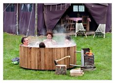 When it was 95 degrees this summer, you looked at hot tubs with disdain and perspiration. Now that its cooling down, this wood-fired hot tub will be just the trick. Bonus: Simply lean out to make smores.
