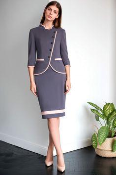 Женский в деловом стиле с жакетом на пуговицах и зауженной юбкой костюм - в интернет-магазине Модная мода