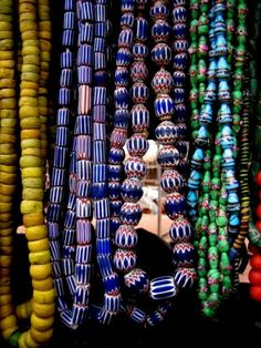 Future visit/ Comeback tour: I want to go to the beach and wear these on my waist ~ Ghana Beads in Accra, Ghana Ethnic Jewelry, African Jewelry, Jewellery, African Inspired Fashion, African Fashion, African Style, Ghana Culture, African Culture, Ghana Travel