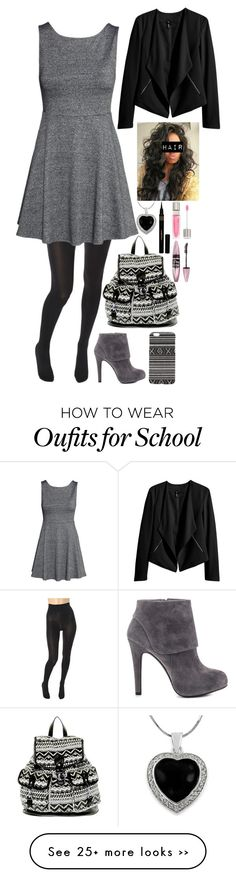 """Go to school.... #21"" by emma-directionner-r5er on Polyvore featuring Wolford, H&M, Jessica Simpson, New Look, With Love From CA, Lancôme, Maybelline, Napoleon Perdis and Tressa"