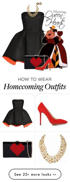 """Homecoming Queen of Hearts"" by animationchic on Polyvore featuring Parlor, Charlotte Olympia, Chanel, Pumps, disney, Homecoming, statementnecklace and blackandred"