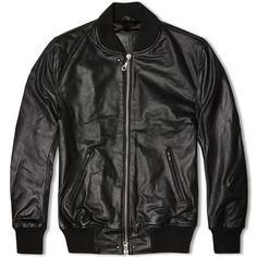MKI Black High Grain Leather Bomber Jacket (Black)