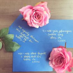 Oh so beautiful custom ink calligraphy on wedding envelopes. What a way to start the wedding in your guests mailbox! They'll know your wedding will be special before you even walk down the aisle. Repin to save and share!