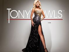 Prom 2013 Sneak Peek: Paris by Tony Bowls Style 113736. Beaded strapless prom dress with fitted skirt with side front slit.