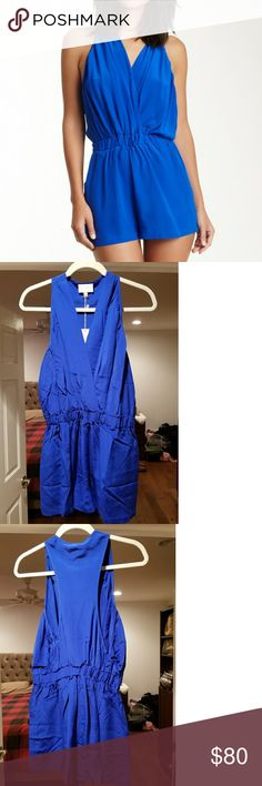NEW Rieley Blue Silk Romper Playsuit Large Brand new with tags Rieley silk romper/playsuit in a bright royal blue, size Large.  Tiny snap at front bust for closure.  Dry clean only.  I am selling this in other colors as well, in the same size...check my closet! Rieley Dresses Mini