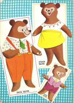 Free Printable Vintage Goldilocks and the Three Bears Paper Dolls from the 1960s