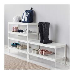 Ikea Mackapar Shoe Rack, designed for stacking, powder-coated steel with two perforated shelves, combine for shoe storage and entry tabletop Coat Closet Organization, Ikea Closet Organizer, Home Organization, Shoe Storage Ideas For Closet, Closet Shoe Storage, Wardrobe Storage, Shoe Rack Closet, Diy Shoe Rack, Shoe Racks