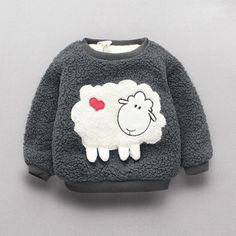 Sweet Sheep Applique Long-sleeve Faux Fur Pullover for Baby