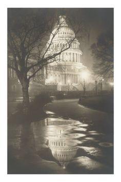 Capitol at Night, Washington, D.C. Premium Poster