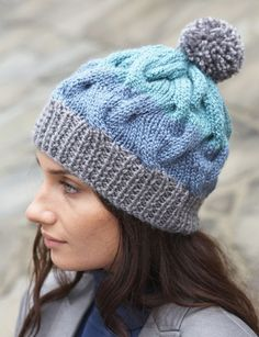 """Cable Crush Winter Hat This image courtesy of patonsyarns.com  Knitting Needle Size: 9 or 5.5 mm, 10 or 6 mm Yarn Weight: (5) Bulky/Chunky (12-15 stitches for 4 inches) Materials: Shetland Chunky (100 g/3.5 oz;136 m/148 yds) Contrast A Oxford Grey (78046) - 1 ball Contrast B - 1 ball Contrast C Soft Teal (78209) - 1 ball Sizes 5.5 mm (U.S. 9) and 6 mm (U.S. 10) knitting needles or size needed to obtain tension Cable needle  GAUGE 15 sts and 20 rows = 4"""" [10 cm] with larger needles in ..."""