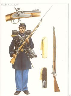 Uniform of the 54th Massachusetts 1863, (artist unknown). Help eliminate poor pinning! If you know the artist and can supply a link, please update this pin. Thank you!