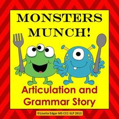 $ Speech Therapy printable monster fun abounds in this sound-loaded, interactive original story designed to improve your student's articulation, phonological awareness, and syntax skills. It features repetitive text which is proven to be a powerful tool for developing critical phonological and early literacy skills. Convenient questions and prompts are included for grammar, question comprehension and categorization.   Use for Halloween, Autumn or anytime you want to have a little monster…