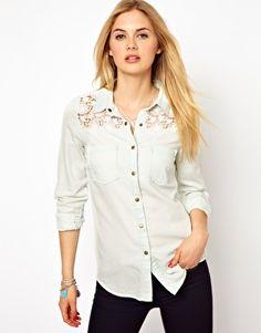 Vila Denim Shirt with Lace Insert Detail