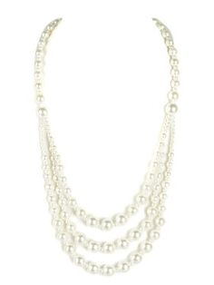 White Three Layers Pearl Necklace