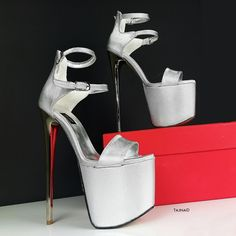 Silver High Heels, Hot High Heels, Thick Heels, Platform High Heels, High Heels Stilettos, Low Heels, Wedge Heels, Rockabilly Fashion, Punk Fashion