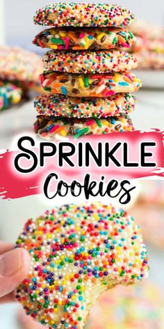 Our Rainbow Sprinkle Cookies are soft, delicious cookies and better than the bakery version! Perfect treat for a birthday, Valentine's Day or a Christmas Cookie swap! Sprinkle Cookies, No Bake Cookies, Cupcake Cookies, Sugar Cookies, Cookies Et Biscuits, Cookies Soft, Cupcakes, Christmas Sprinkles, Christmas Treats