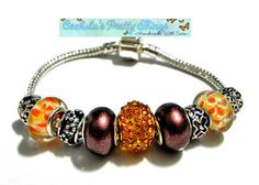 european beads Bracelet lampwork  fall by CookalasHouseOfCards, $14.99