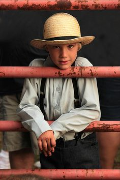 A young boy, at the livestock pen, at an Amish Auction...