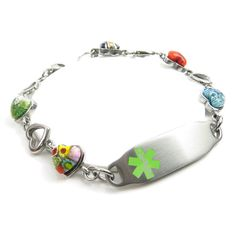 Medical Bracelet Engraved Millefiori Glass by MyIdentityDoctor