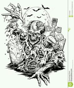 Printable Halloween Coloring Pages For Adults. Free printable halloween coloring pages for adults best, coloring pages for adults halloween pumpkin coloring page. Free printable halloween coloring pages for adults best. Skull Coloring Pages, Halloween Coloring Pages, Coloring Books, Arte Horror, Horror Art, Tattoo Crane, Zombie Drawings, Zombie Art, Printable Adult Coloring Pages
