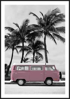 Art prints - Pink VW Bus Pink VW Bus, made by Insplendor.Pink VW Bus, made by Insplendor. Canvas Artwork, Artwork Prints, Fine Art Prints, Poster Prints, Photo Wall Collage, Picture Wall, Images Murales, Foto Poster, Vw Bus