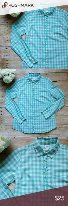 J.Crew mint gingham perfect shirt Pretty mint color. EUC. Front pocket. It fits loose. Great to tuck  in. J. Crew Tops Button Down Shirts