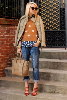 Atlantic-Pacific | polka dot shirt and mustard sweater with jeans