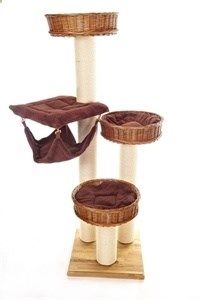 DIY Cat tree. PVC wrapped in cord. Baskets. Wood base. This is a great idea for pampered princes and princesses!