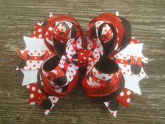 Minnie Mouse Boutique Hairbow, Disney Hair Bow, Red and White Hairbow, Black and Red Hairbow, Girls Hairbow, Toddler Layered Hair Bow by JazzyandSassyDesigns on Etsy